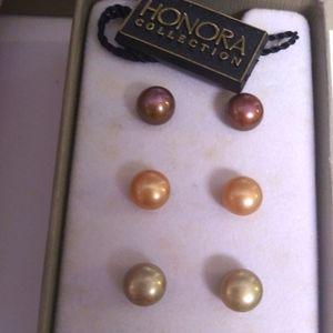 Honora genuine pearl NWT 7 pc earring set